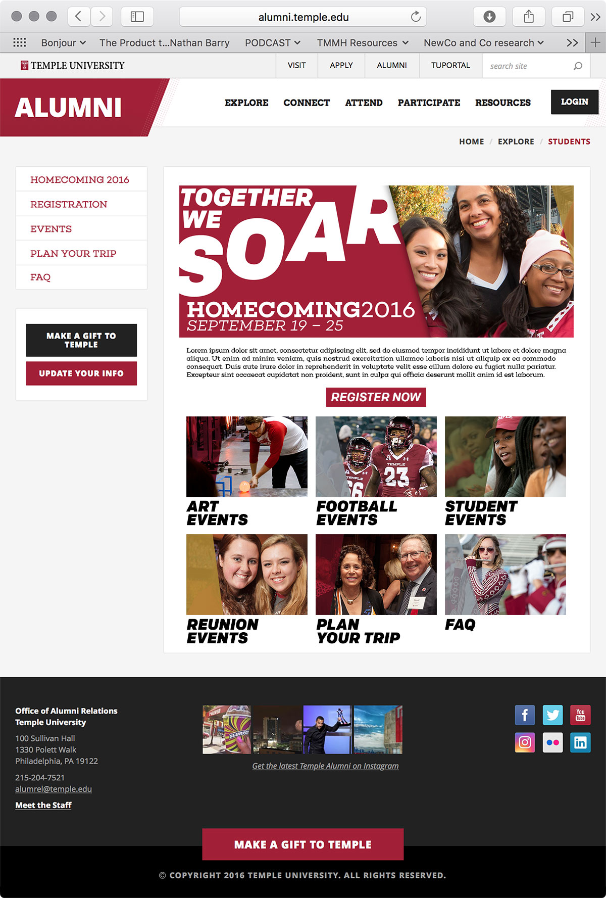 Temple Homecoming 2016—Website
