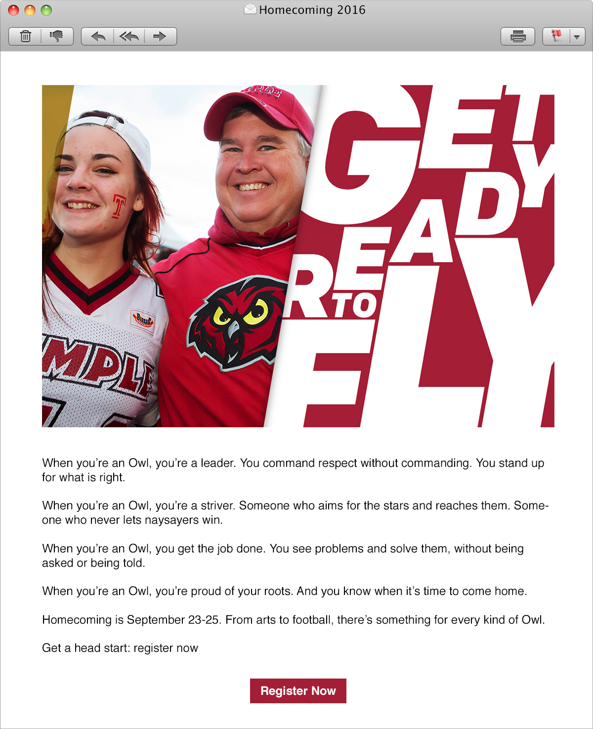 Temple Homecoming 2016—Email Header